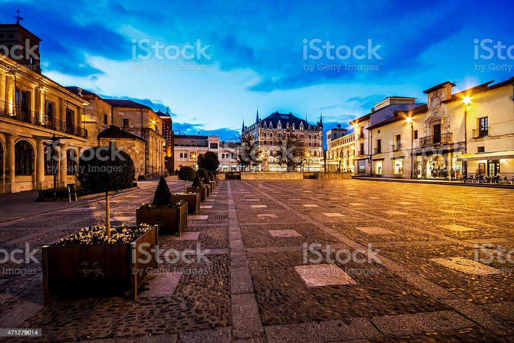 San Marcelo square in Leon, Spain. stock photo