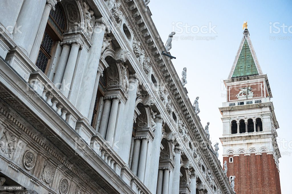 San marco bell tower in venice stock photo