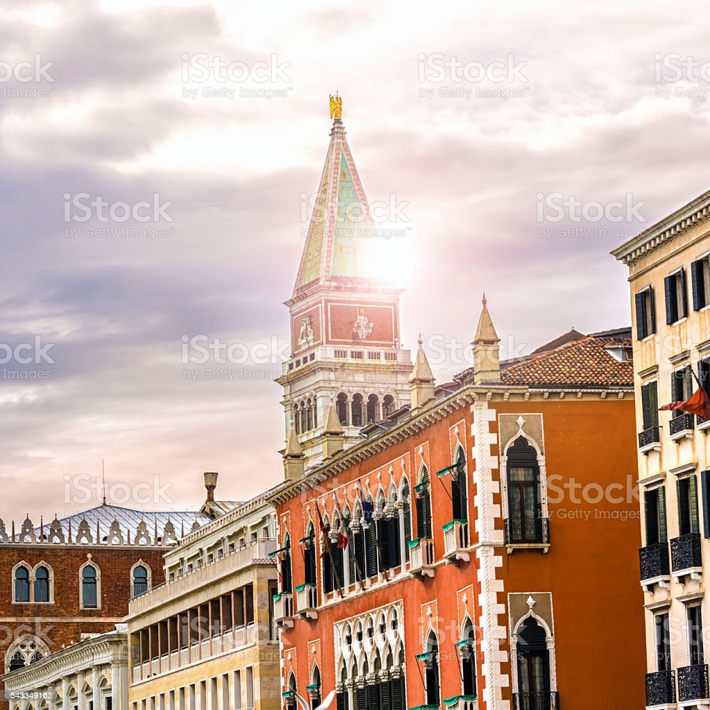 San marco bell tower in venice with sunlight stock photo