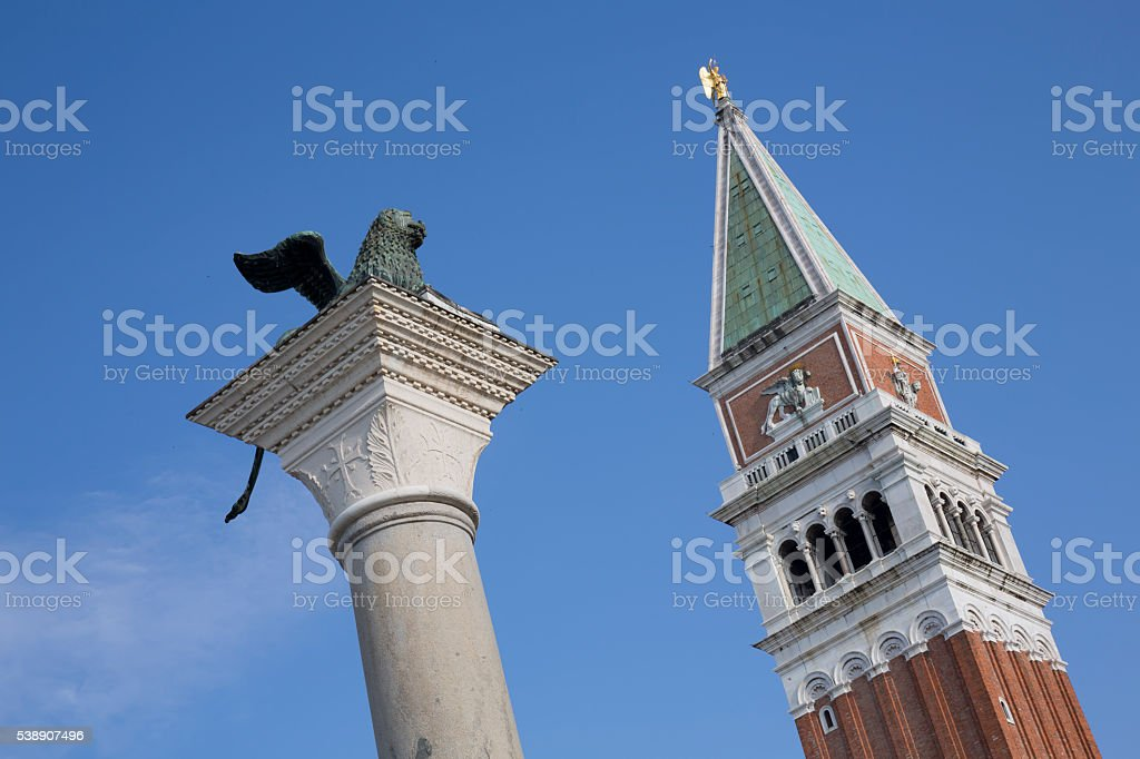 San Marco Column and Campanile Tower in Venice stock photo