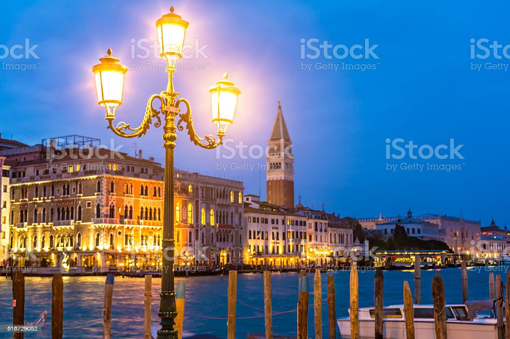 San marco square in venice by night stock photo