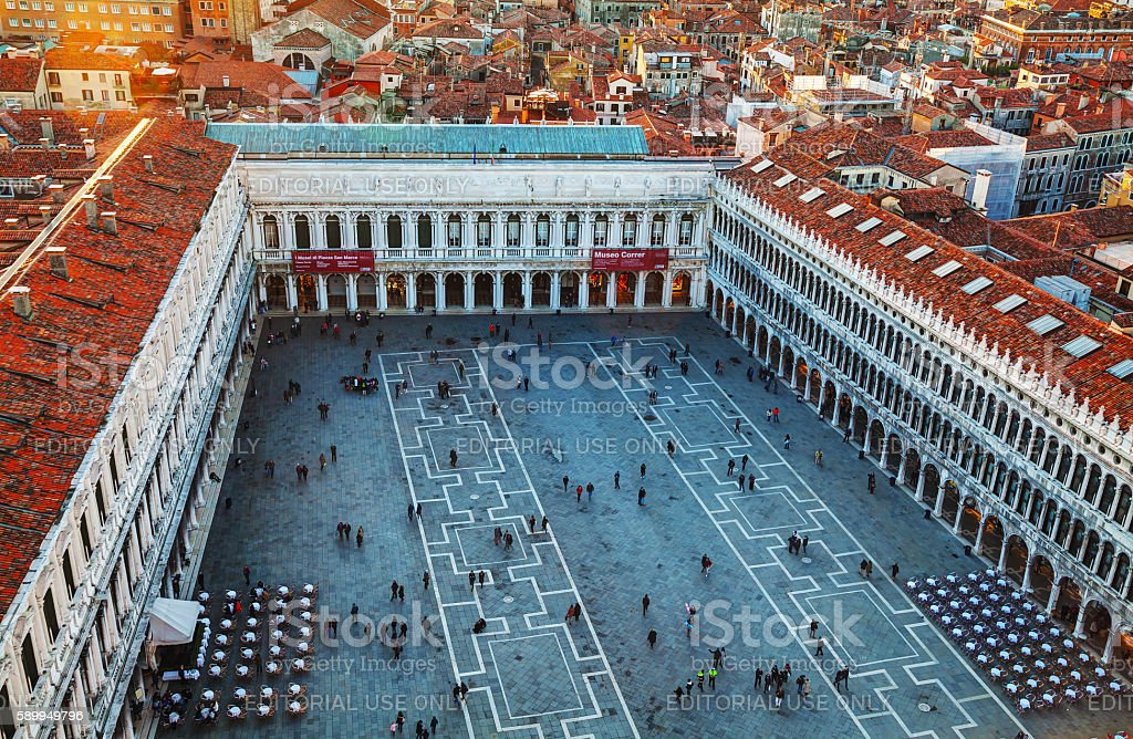San Marco square with tourists in Venice stock photo