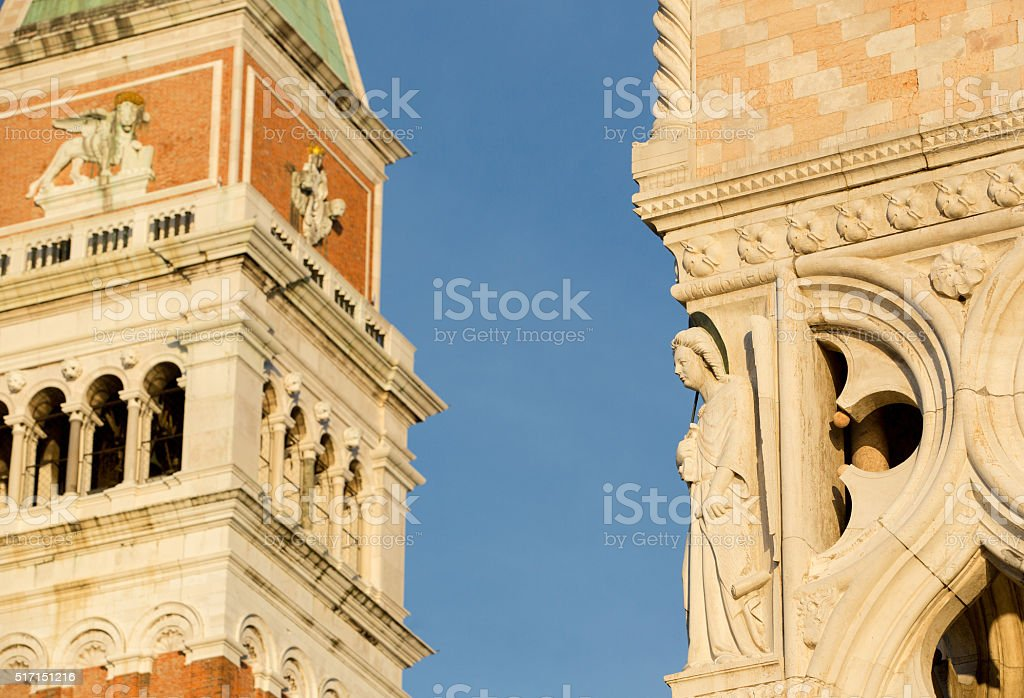 San Marco tower and Dodge Palace located in Venice stock photo