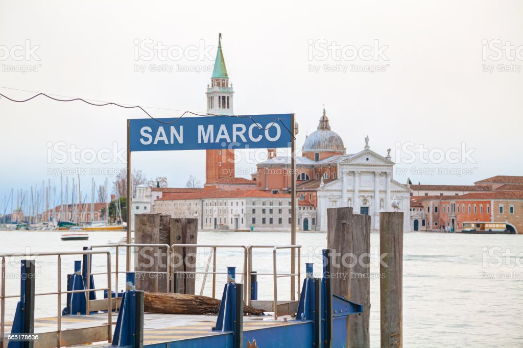 San Marco water bus stop sign stock photo