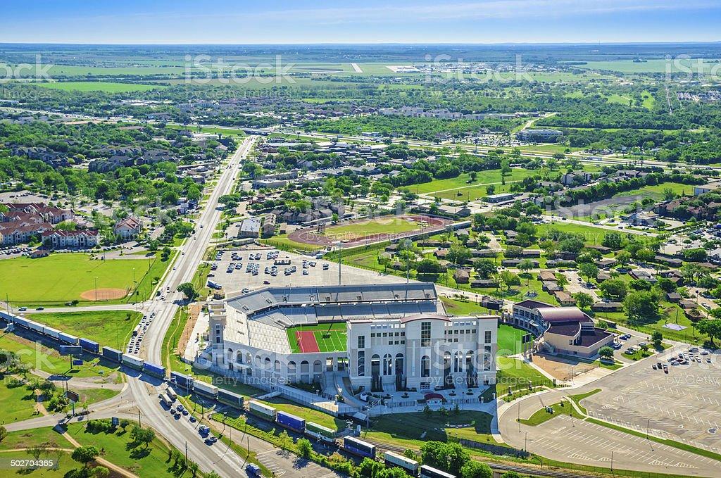 San Marcos Texas Aerial Panoramic Skyline, TXST Bobcat Stadium stock photo