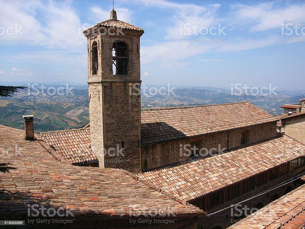 San Marino - Campanile della chiesa di San Francesco stock photo