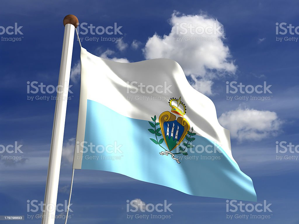San Marino flag (with clipping path) stock photo