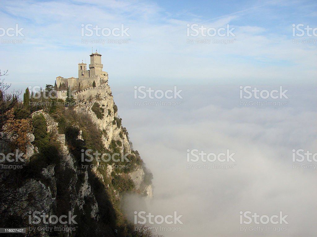 San Marino in the clouds stock photo