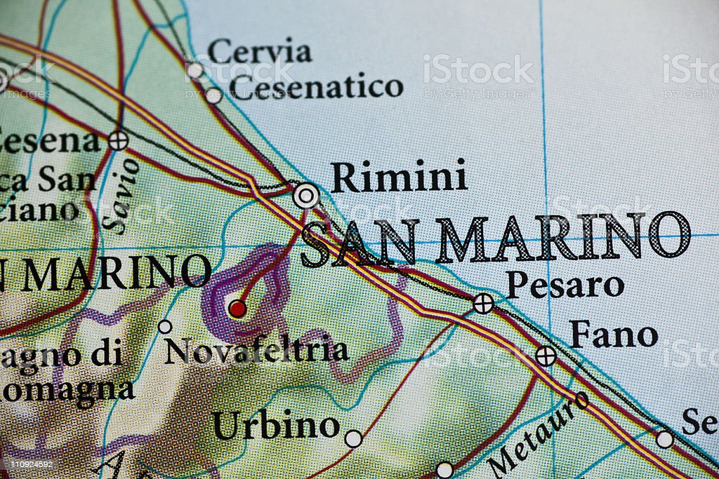 San Marino, Italy map stock photo
