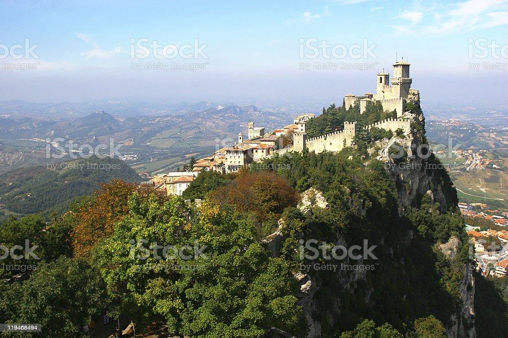 San marino, Rocca della Guaita, castle stock photo