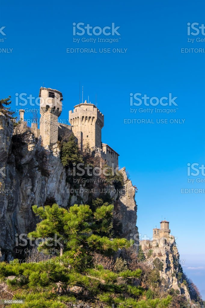 San Marino, the First and the Second Tower stock photo