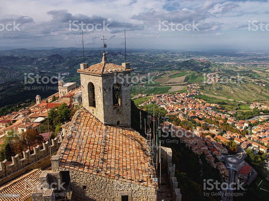 San Marino town from above. Italy stock photo