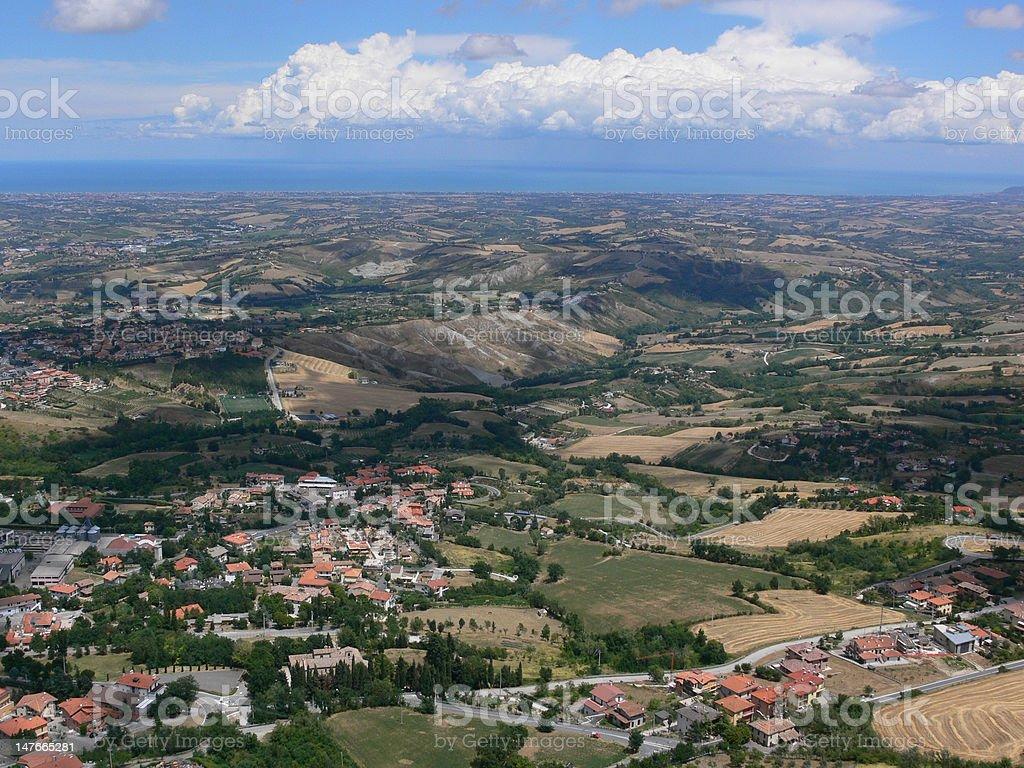 San Marino - View from Monte Titano stock photo