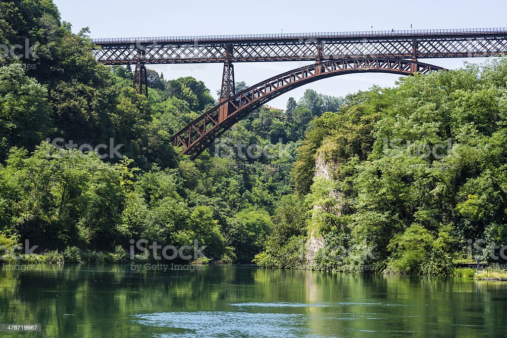San Michele bridge on the Adda river in Italy royalty-free stock photo