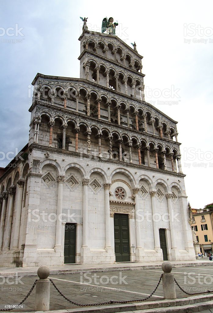 San Michele in Foro Church, Lucca, Tuscany, Italy stock photo
