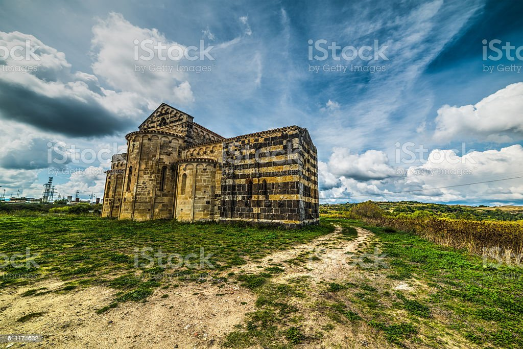 San Michele Salvenero church in Sardinia stock photo