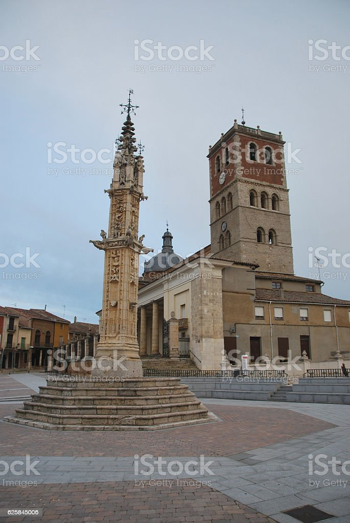 San Miguel church and pillory stock photo
