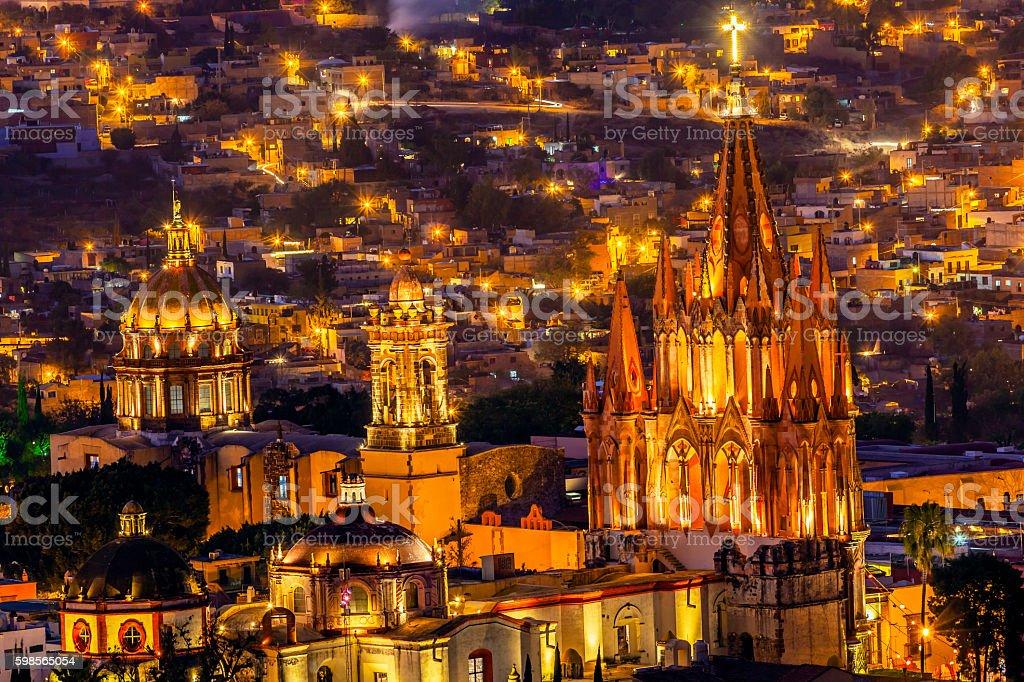San Miguel de Allende Mexico Miramar Overlook Night Parroquia stock photo