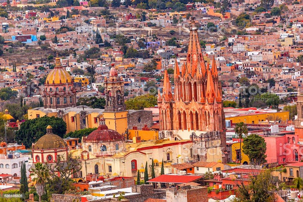 San Miguel de Allende Mexico Miramar Overlook  Parroquia Church stock photo