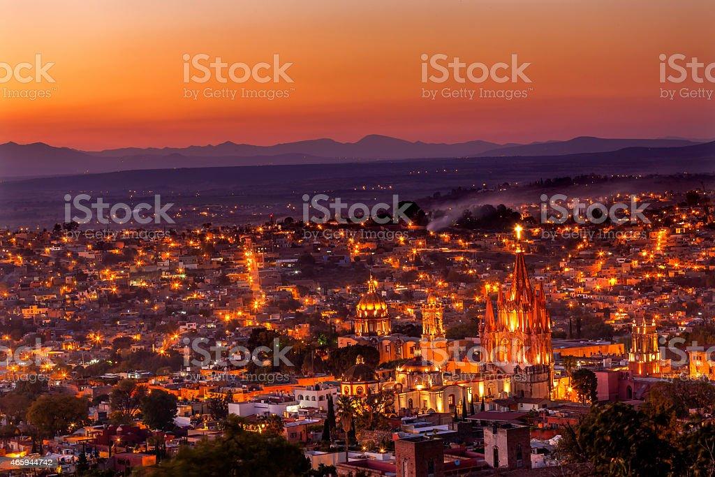 San Miguel de Allende Mexico Miramar Overlook Sunset Parroquia Church stock photo