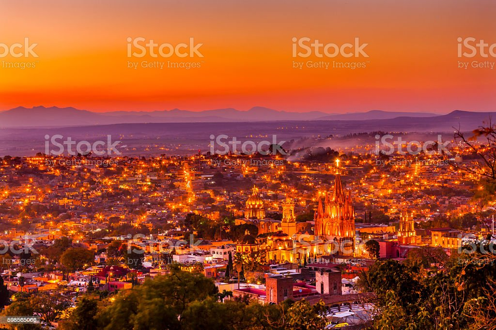San Miguel de Allende Mexico Miramar Overlook Sunset Parroquia stock photo