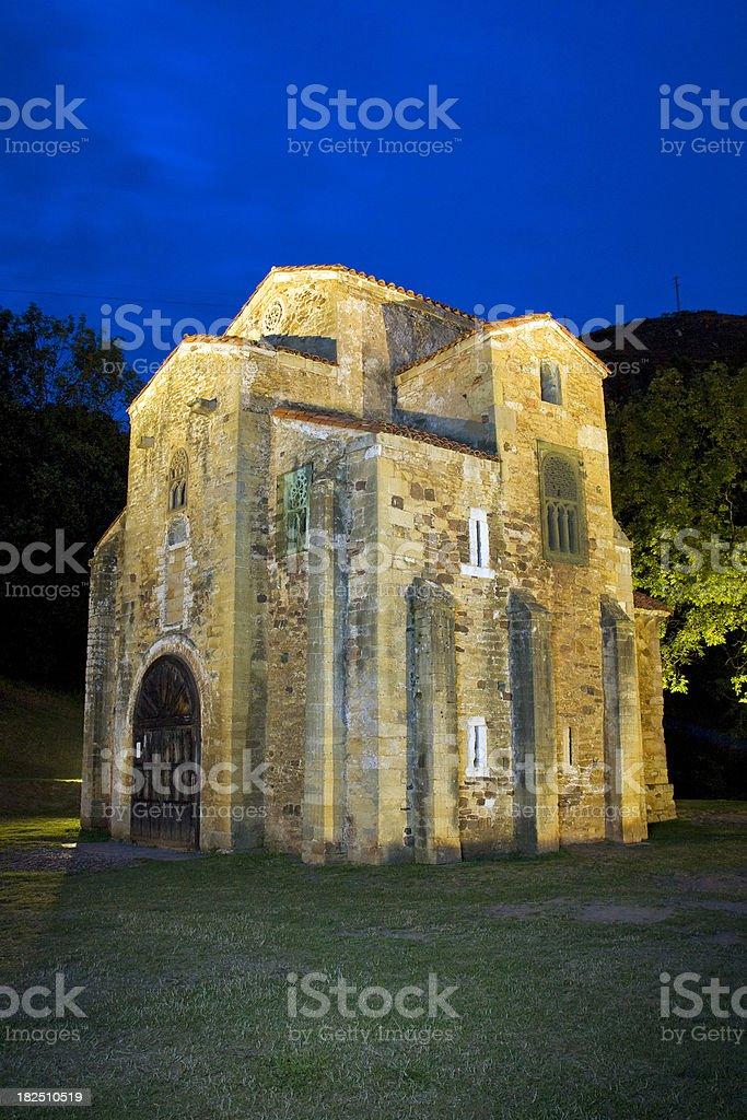 San Miguel de Lillo at night stock photo