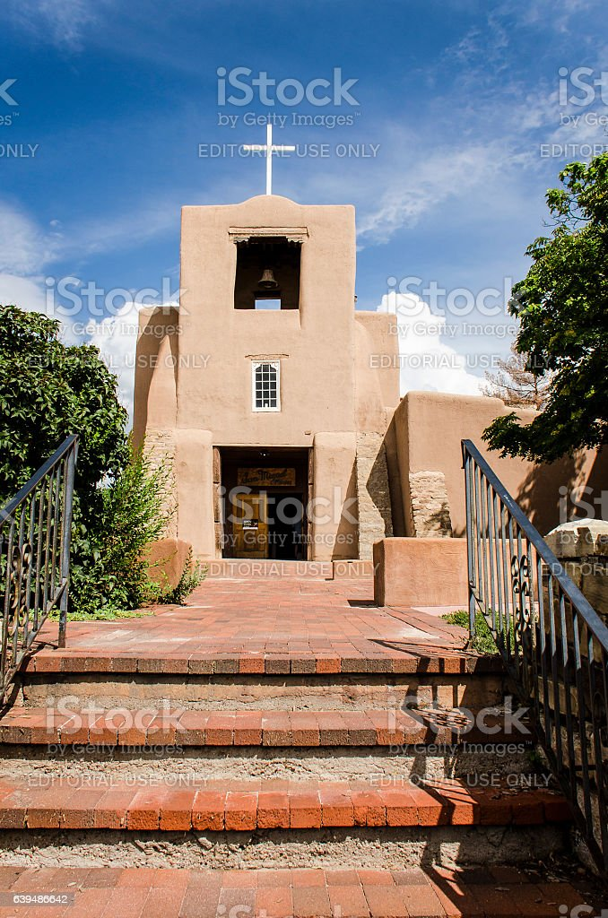 San Miguel Mission chapel church in Santa Fe stock photo