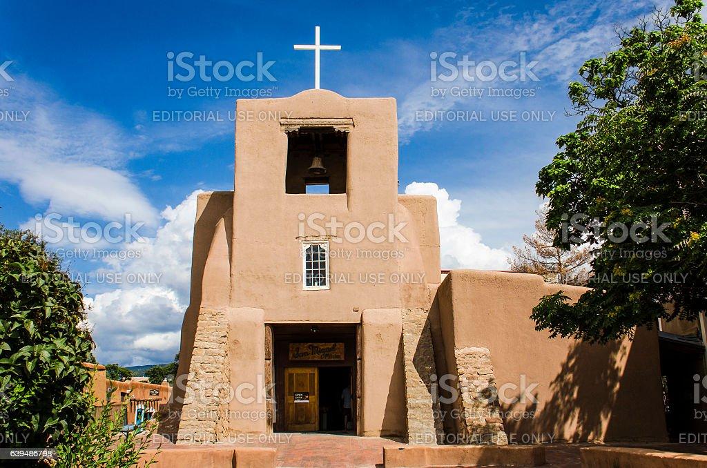 San Miguel Mission chapel church in Santa Fe stock photo