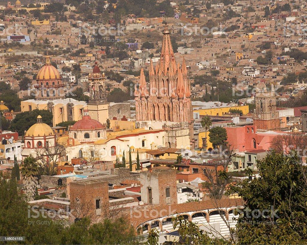 San Miguel Overlook Parroquia Archangel Church stock photo