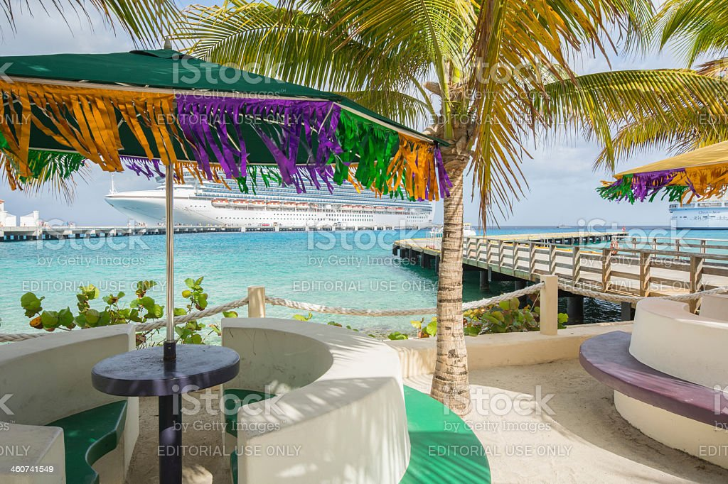 San Migue's waterfront the Crown Princess cruise ship in background royalty-free stock photo