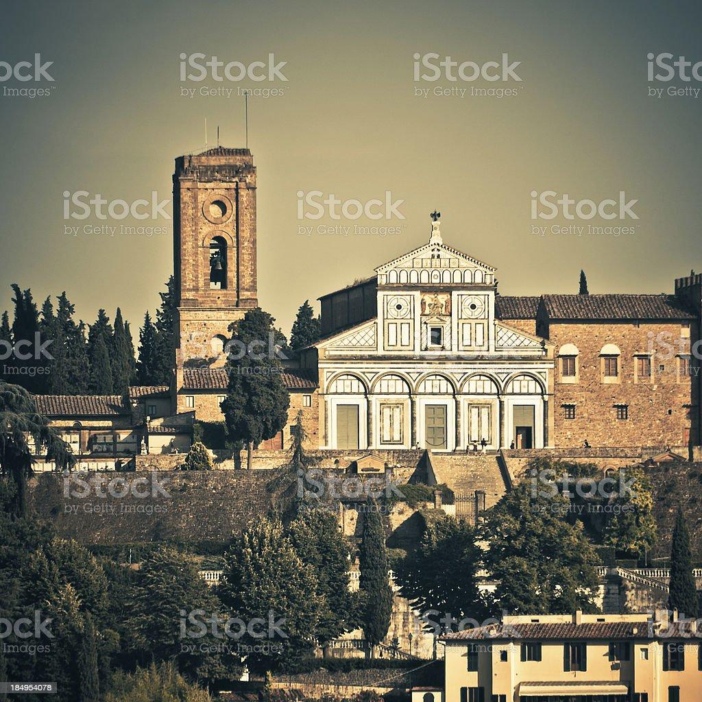 San Miniato al Monte Church in Firenze, Digital Cross Process stock photo