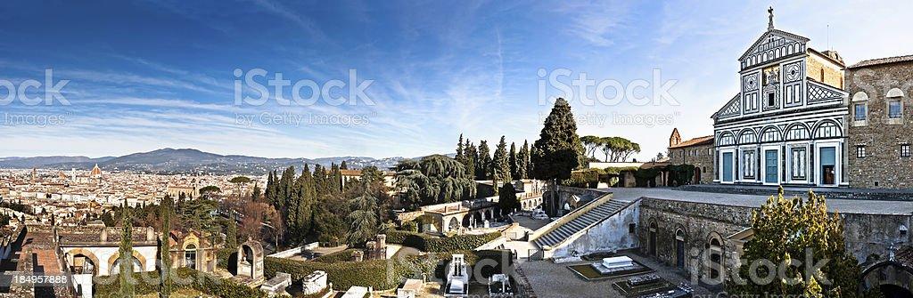 San Miniato Church Overlooks Florence in Italy, Wide Panorama XXXL stock photo