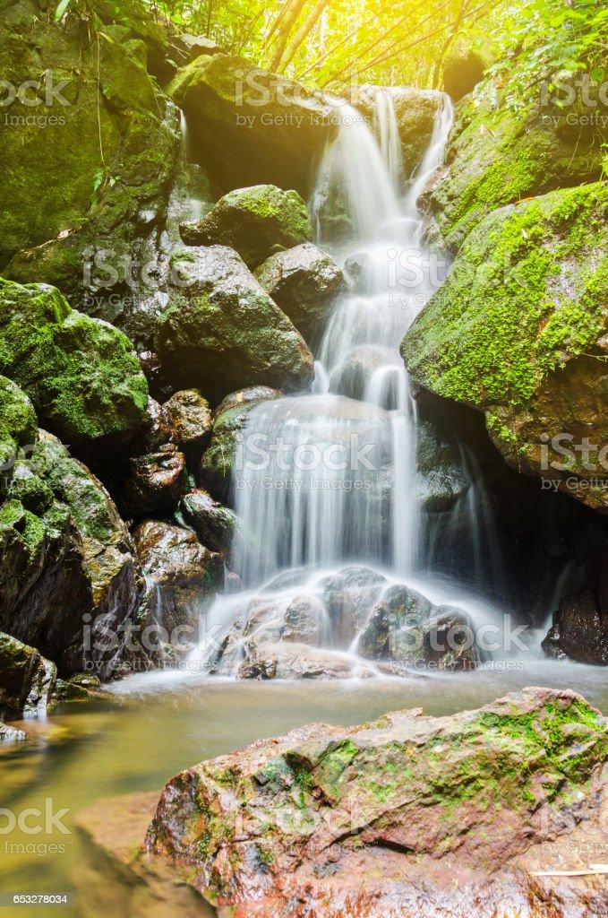 San Ngorn Waterfall, the beautiful waterfall in deep forest stock photo