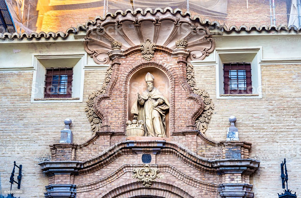 San Nicolas de Bari church in Zaragoza, Spain stock photo