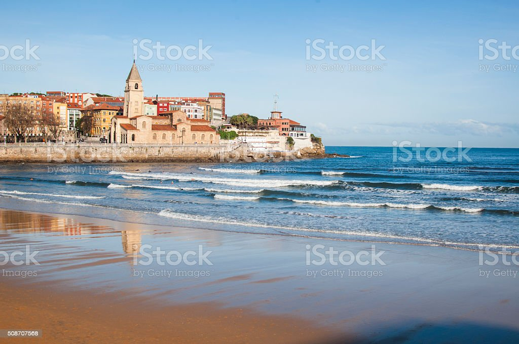 San Pedro church, in Gijon promenade stock photo