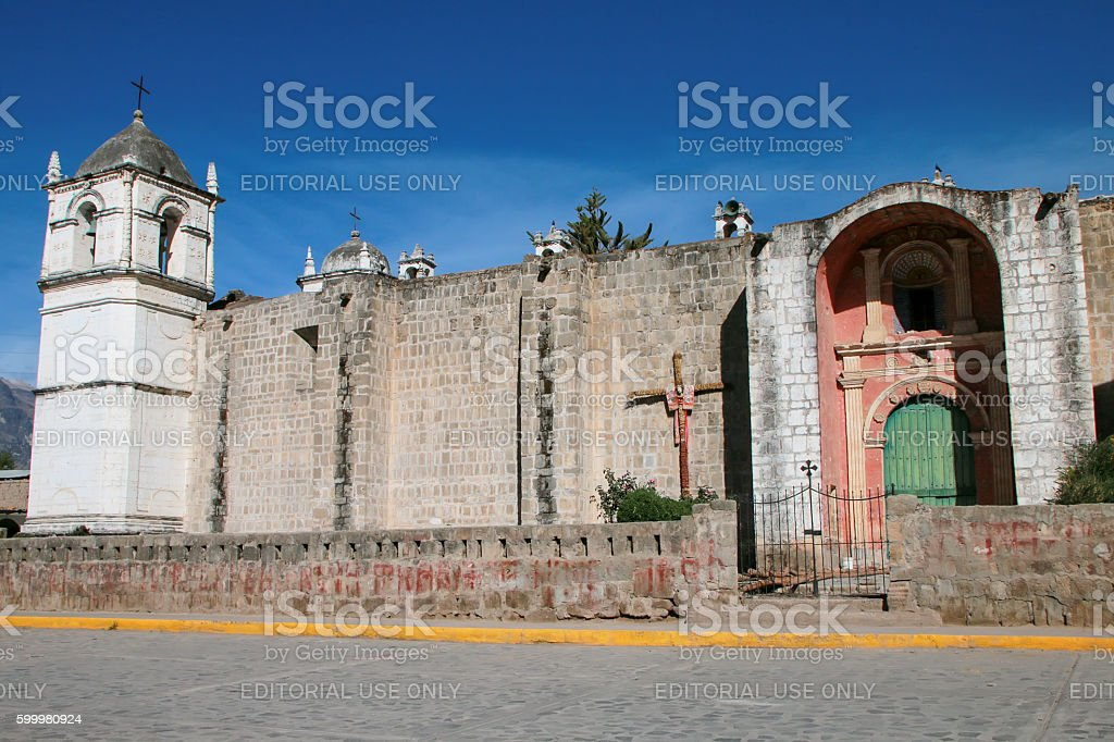 San Pedro de Alcantara Church in Cabanaconde, Peru stock photo