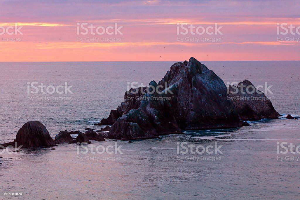 san pedro rock near San Francisco of California at Sunset stock photo