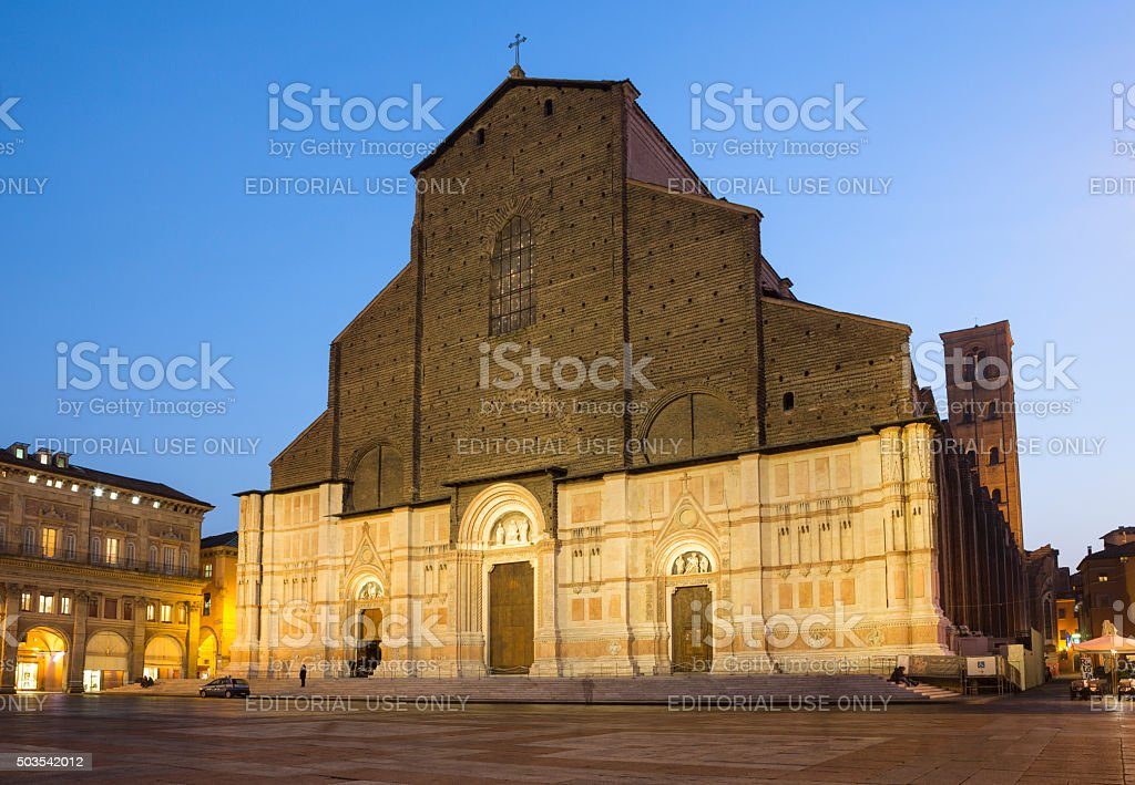 San Petronio Basilica in Piazza Maggiore at dusk, Bologna Italy stock photo