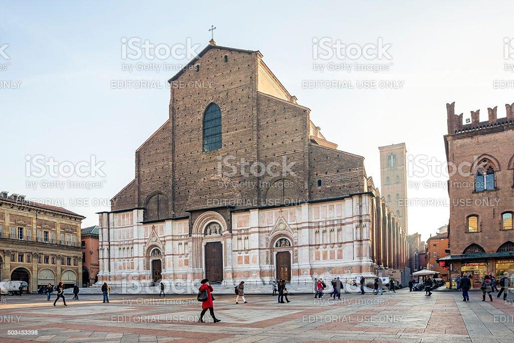 San Petronio Basilica in Piazza Maggiore, Bologna Italy stock photo