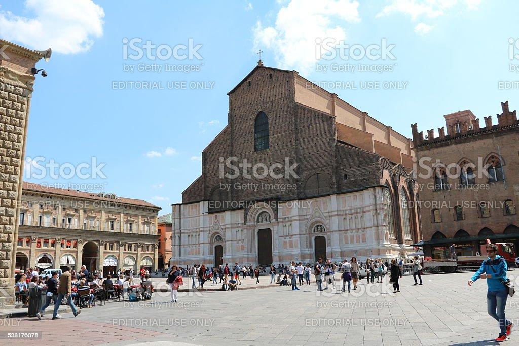 San Petronio Basilica in Piazza Maggiore in Bologna, Italy stock photo