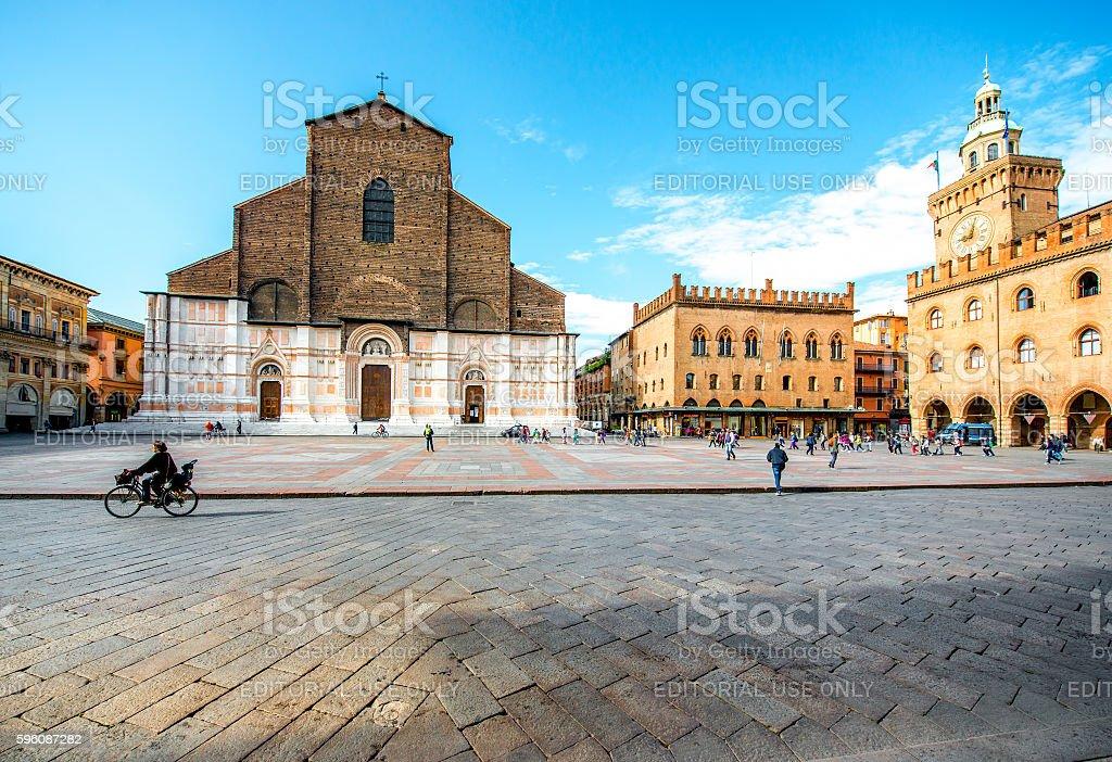 San Petronio church in Bologna stock photo