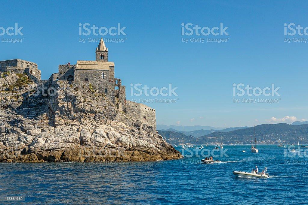 San Pietro Church of Portovenere, Italy stock photo