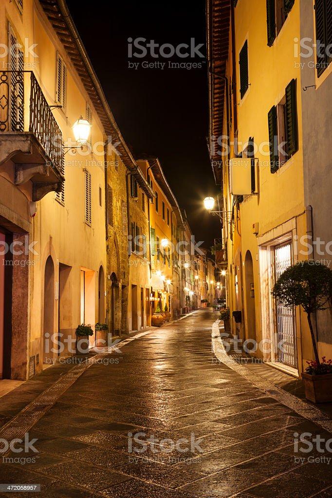 San Quirico d'Orcia at Dusk, Tuscany, Italy stock photo