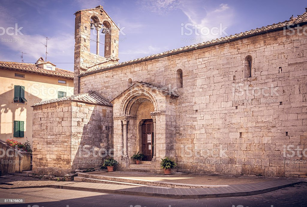San Quirico Dorcia tuscan town stock photo