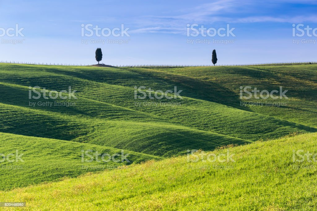 San quirico d'orcia, tuscany italy with rolling hills and tuscan cypress trees. Located in Val D'Orcia countryside. stock photo