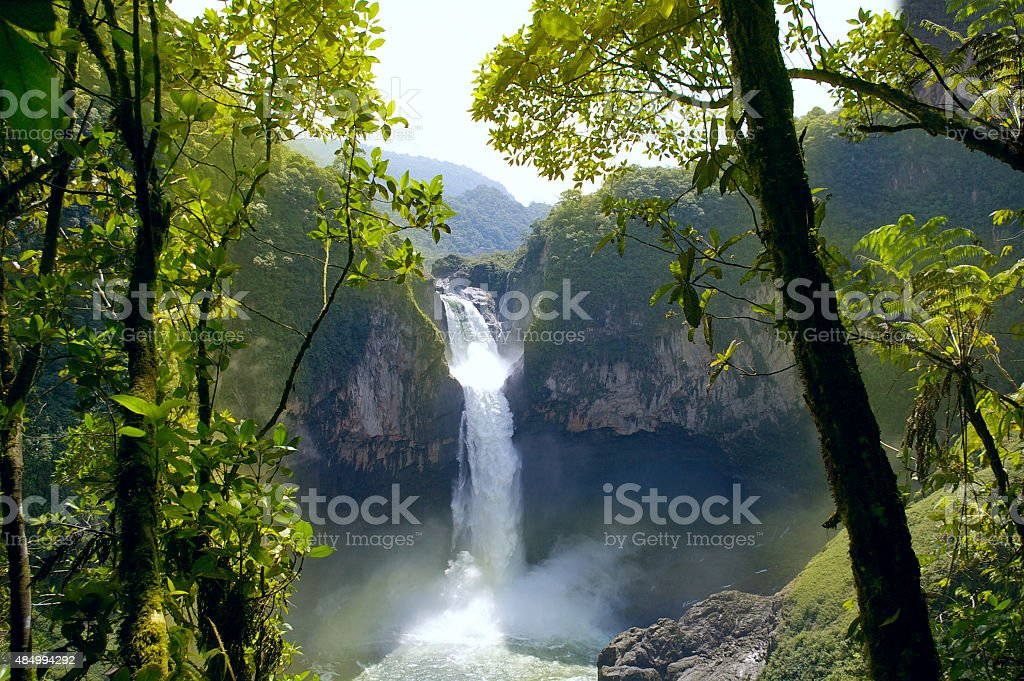San Rafael Falls. The Largest Waterfall in Ecuador stock photo