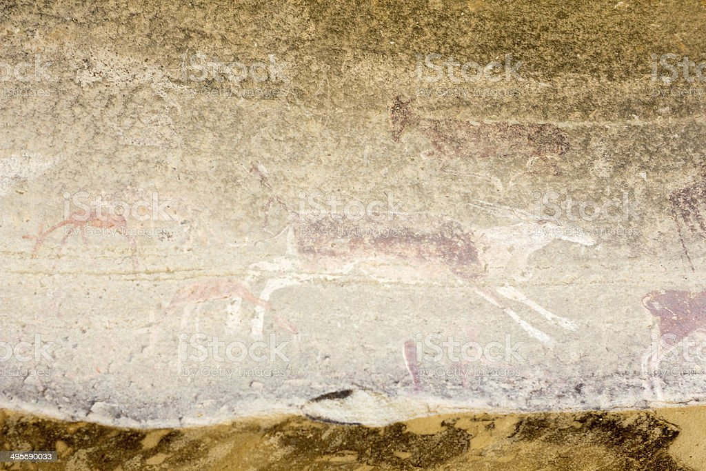 San Rock Art in the Drakensberg, South Africa royalty-free stock photo