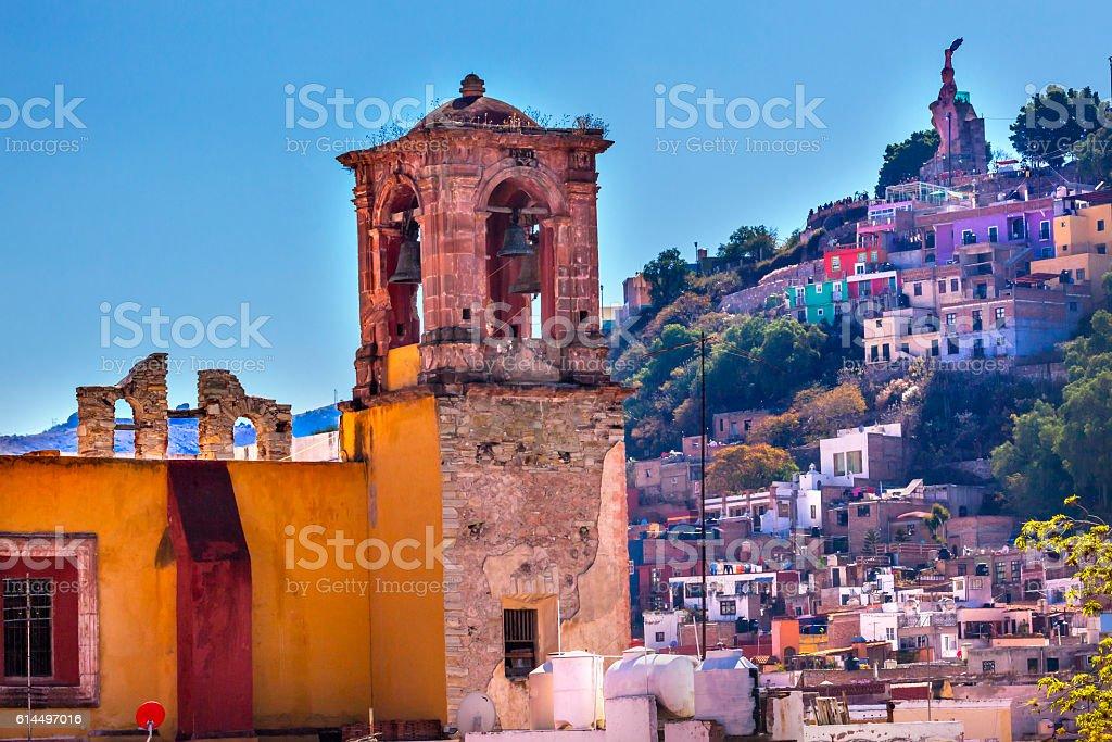 San Rocque Church El Pipila Statue Guanajuato Mexico stock photo