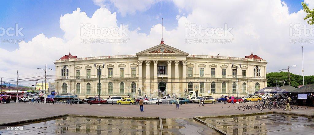 San Salvador, El Salvador - Presidential Palace with traffic jam stock photo