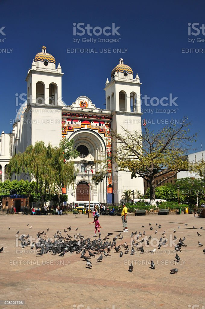 San Salvador, El-Salvador: central square and Cathedral stock photo